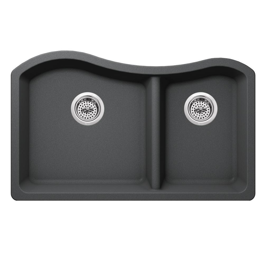 Undermount Quartz 32-1/2 in. 60/40 Double Kitchen Sink in Gray