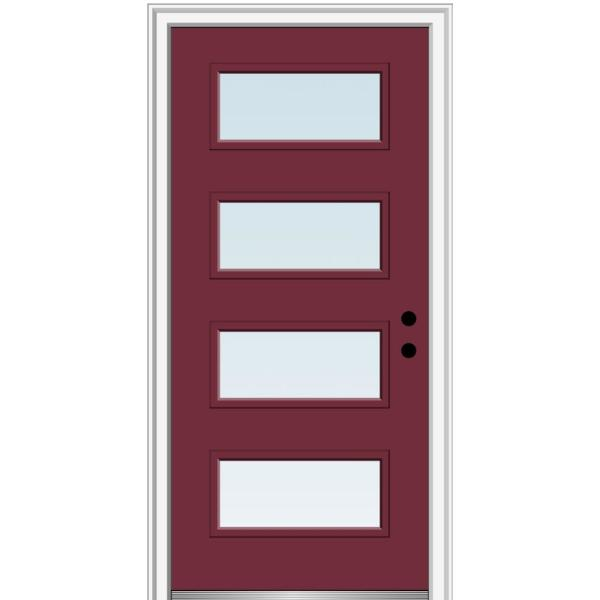 Mmi Door 32 In X 80 In Celeste Left Hand Inswing 4 Lite Clear Low E Glass Painted Steel Prehung Front Door On 6 9 16 In Frame Z0353697l The Home Depot