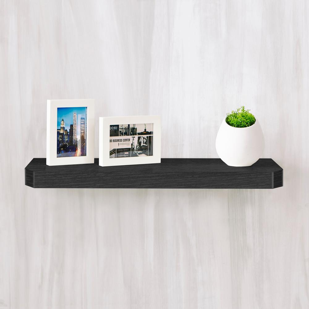Uniq 23.6 in. W x 1.6 in. D Black Wood Grain zBoard  Floating Wall Shelf and Decorative Shelf