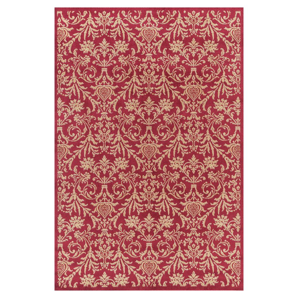 Concord Global Trading Jewel Damask Red 7 ft. x 9 ft. Area Rug