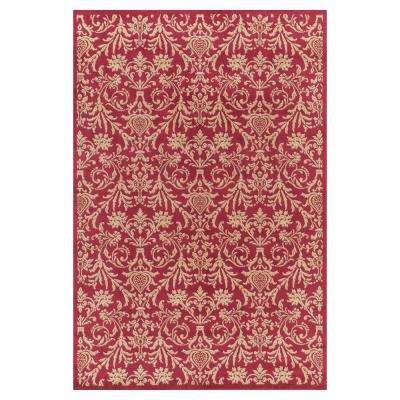 Jewel Damask Red 8 ft. x 10 ft. Area Rug