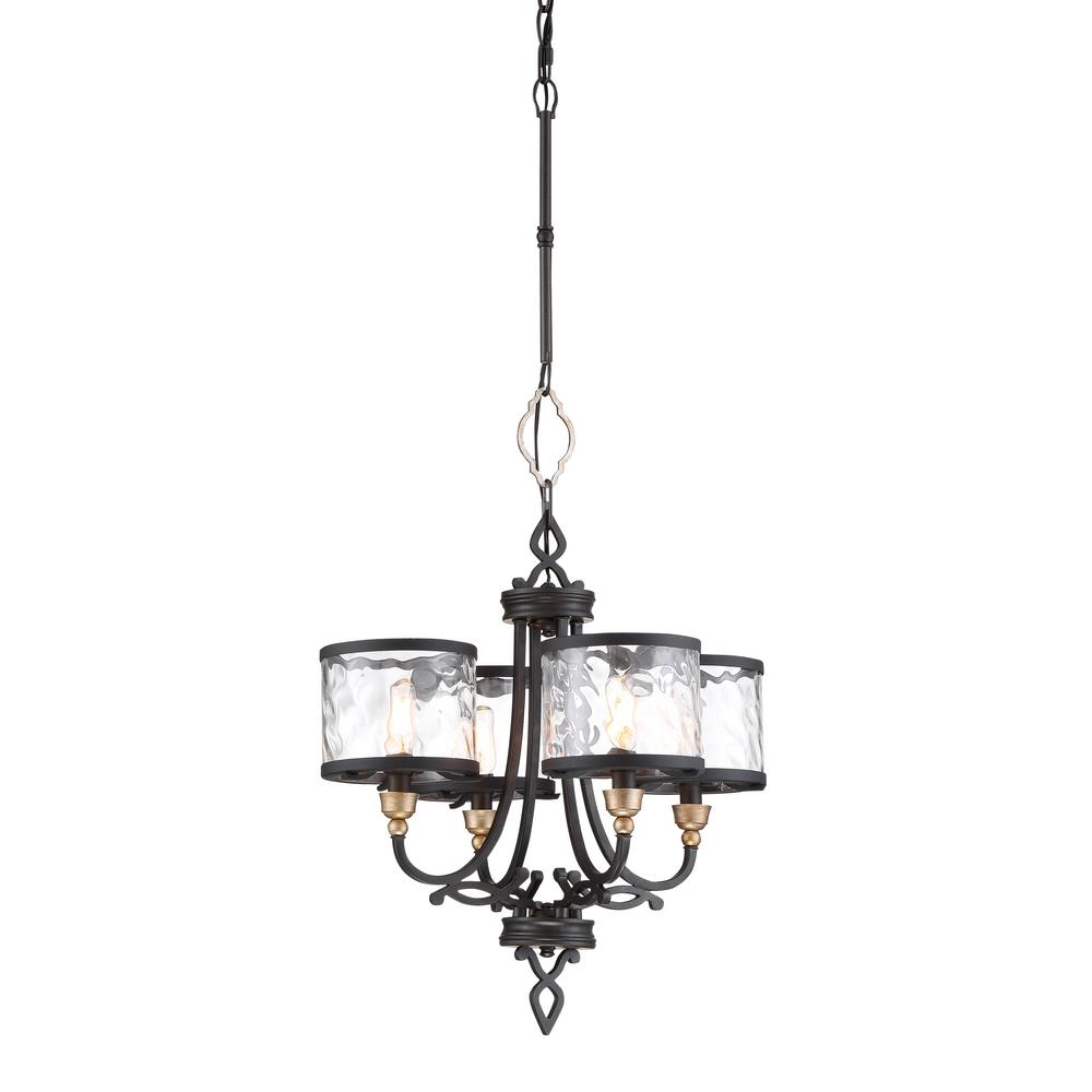 Minka Lavery Wyndmere 4-Light Sand Black with Gold Highlights Chandelier with Clear Water Glass Shades