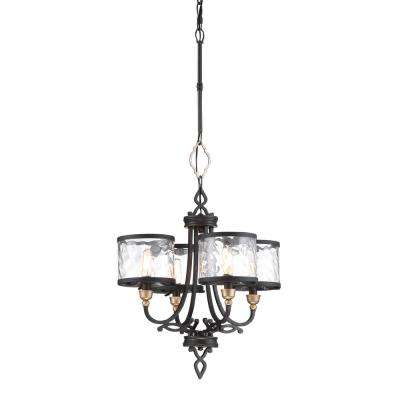 Wyndmere 4-Light Sand Black with Gold Highlights Chandelier with Clear Water Glass Shades