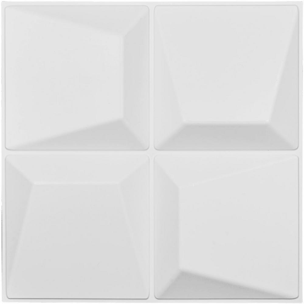 1 in. x 19-5/8 in. x 19-5/8 in. White PVC Tellson EnduraWall Decorative 3D Wall Panel