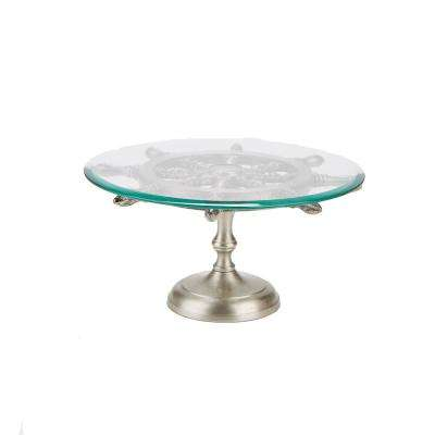 20 in. 1-Tier Silver Metal Glass Cake and Stand Cupcake Stand Holder