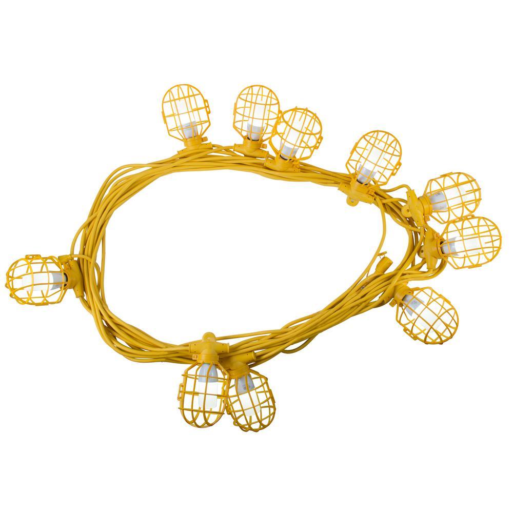 100 ft. 14/3 SJTW 10-Light Plastic Cage Temporary Light Stringer, Yellow