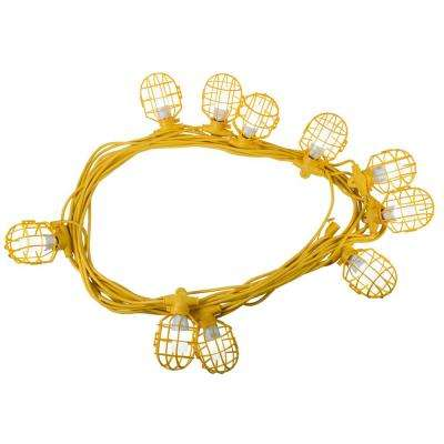100 ft. 14/3 SJTW 10-Light Plastic Cage Temporary Light Stringer, Yellow