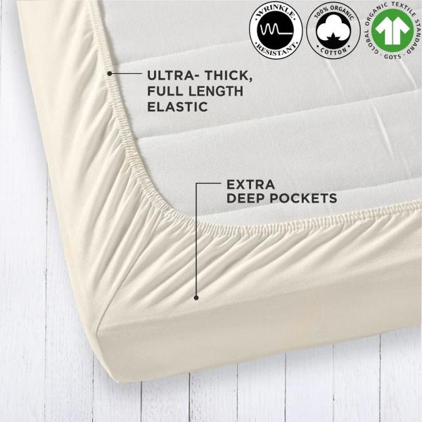 A1 Home Collections Organic Cotton Wrinkle Resistant Cream Queen Ed Sheet Extra Deep Pockets