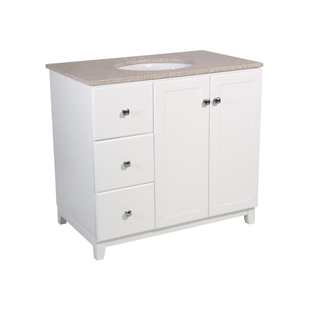 Design House Shorewood 36 in. W x 21 in. D 2-Dr 2-Dwr Bath Vanity in White with Granite Vanity Top in Golden Sand with White Basin