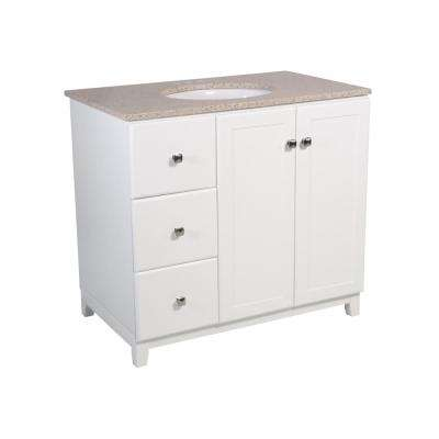 Shorewood 36 in. W x 21 in. D 2-Dr 2-Dwr Bath Vanity in White with Granite Vanity Top in Golden Sand with White Basin