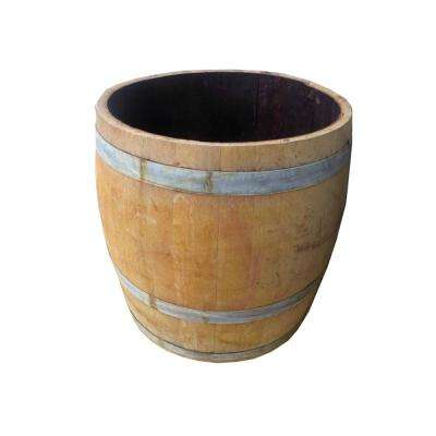 27 in. W 28 in. H Lacquer Finished Tall Wine Barrel Planter