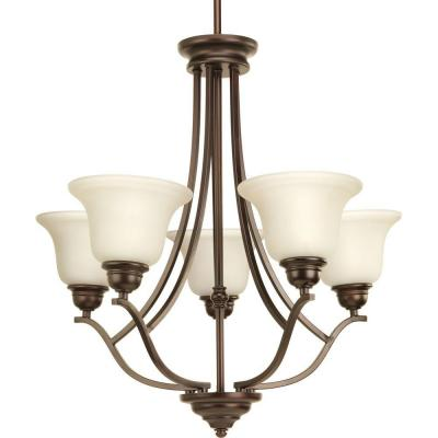 Spirit Collection 5-Light Antique Bronze Chandelier with Light Umber Etched Glass