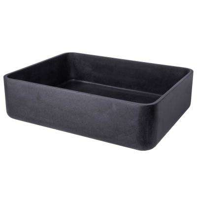 Thin Lip Rectangular Vessel Sink with Rounded Corners in Natural Black Lava Stone