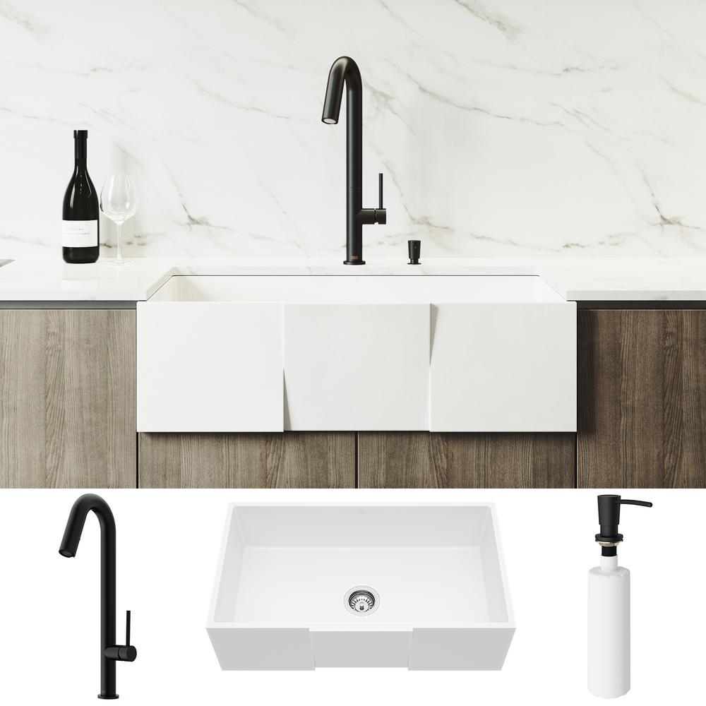Vigo All In One Farmhouse Apron Front Matte Stone 33 In Single Bowl Kitchen Sink With Faucet In Matte Black