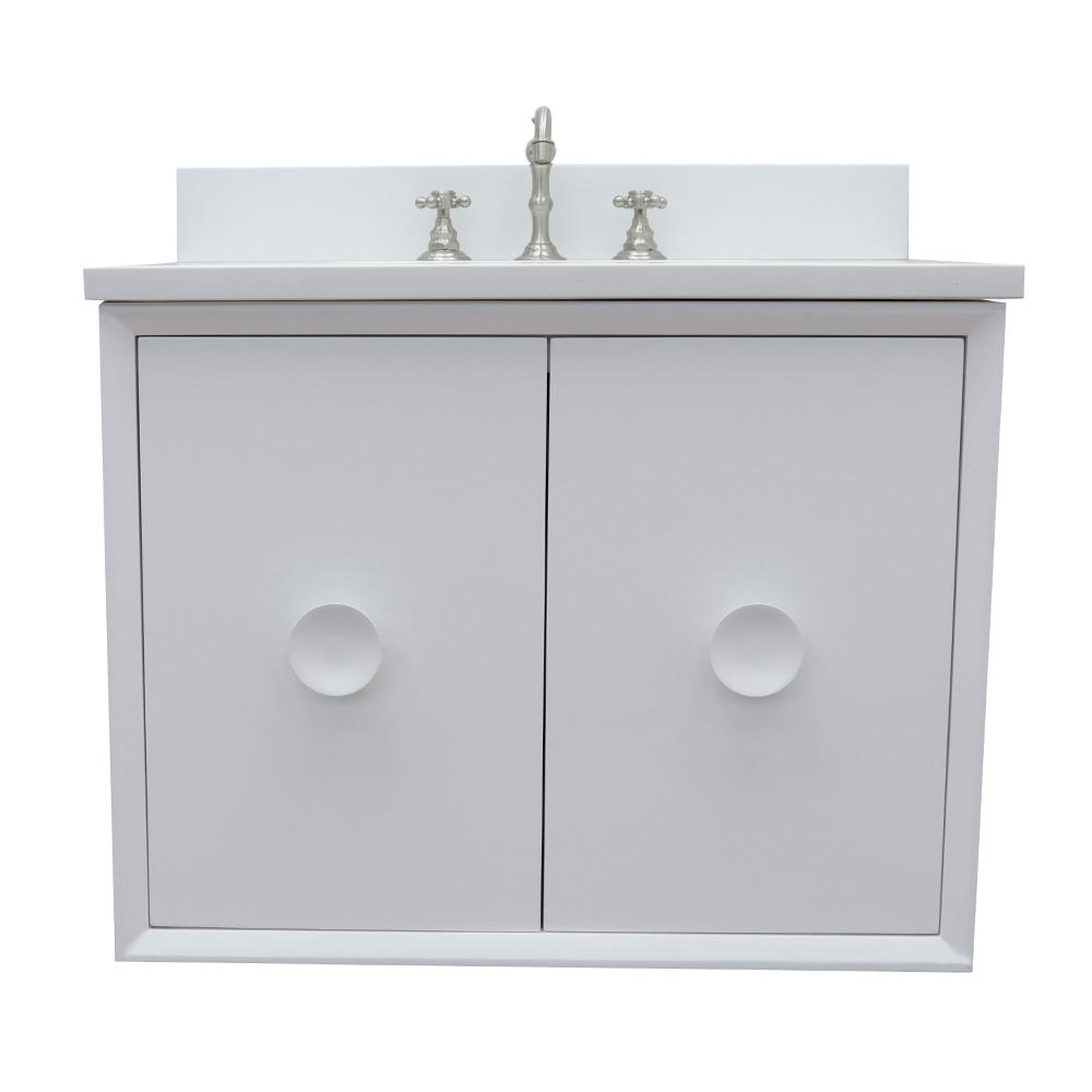 Bellaterra Home Stora 31 in. W x 22 in. D Wall Mount Bath Vanity in White with Quartz Vanity Top in White with White Rectangle Basin