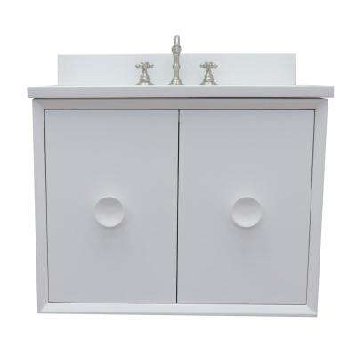 Stora 31 in. W x 22 in. D Wall Mount Bath Vanity in White with Quartz Vanity Top in White with White Rectangle Basin