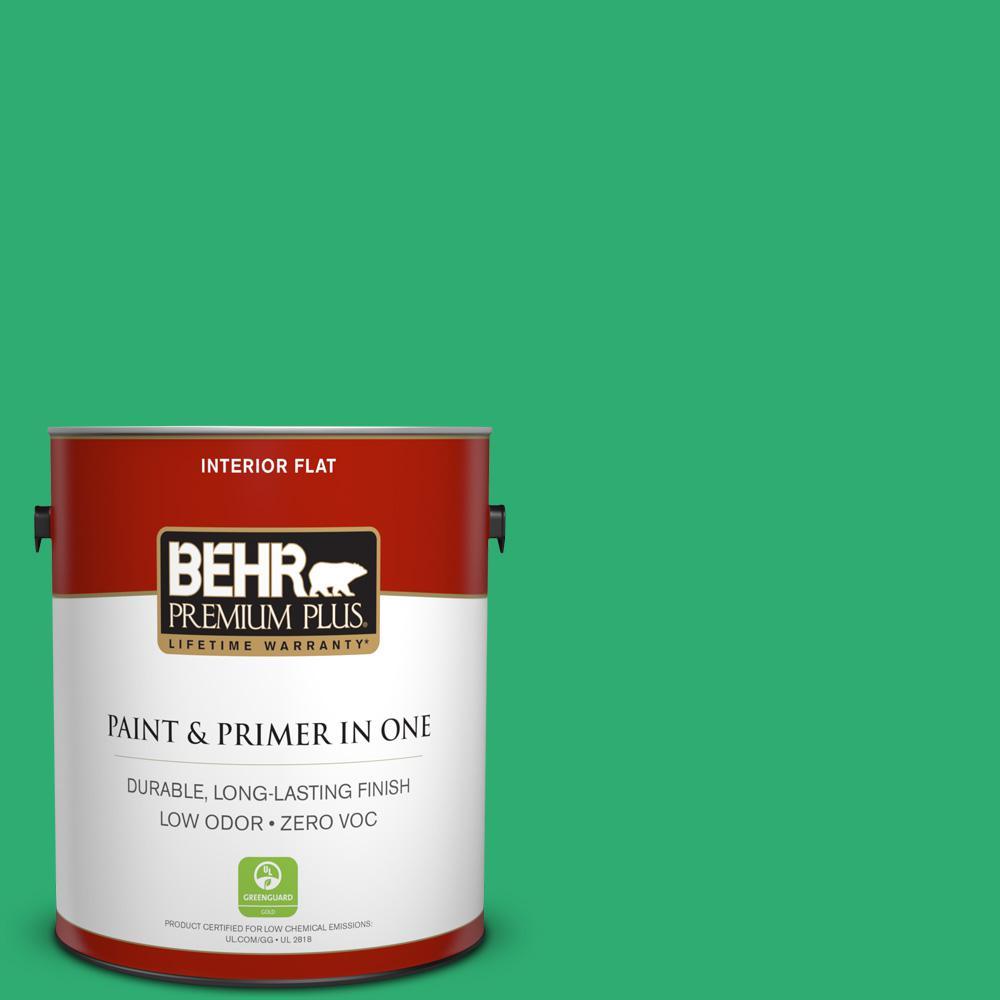 BEHR Premium Plus 1-gal. #460B-5 Fresh Greens Zero VOC Flat Interior Paint