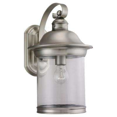 Hermitage 1-Light Medium Outdoor Antique Brushed Nickel Wall Mount Fixture