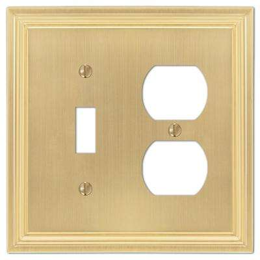 Hallcrest Cast 1-Toggle and 1-Duplex Wall Plate, Satin Brass