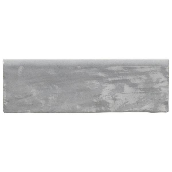 Kingston Gray 3 in. x 8 in. Glazed Ceramic Bullnose Tile
