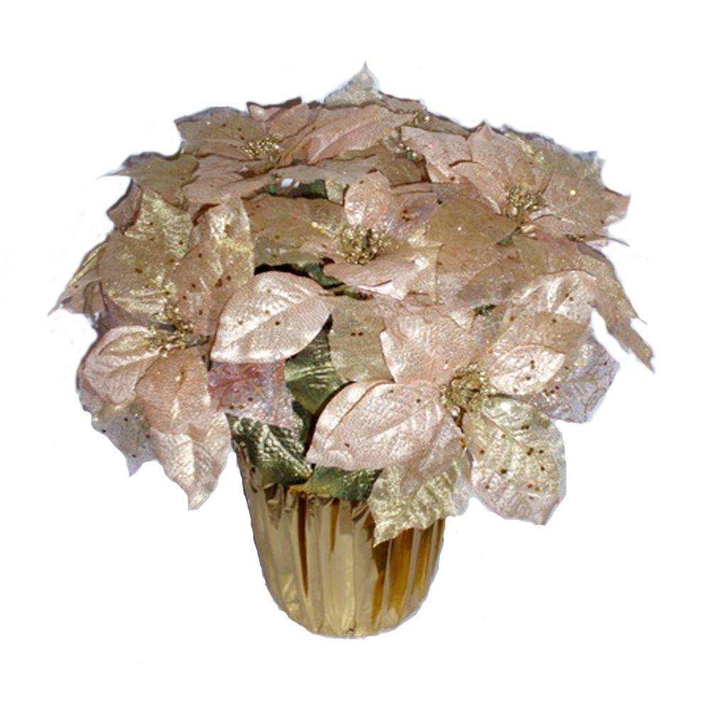 Home Accents Holiday 21 in. Gold Glittered Silk Poinsettia (9-Case)
