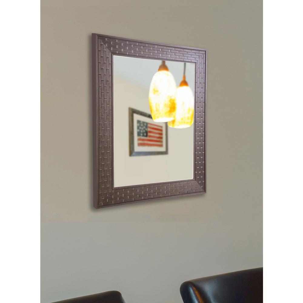 35 in. x 23 in. Espresso Bricks Non Beveled Vanity Wall Mirror