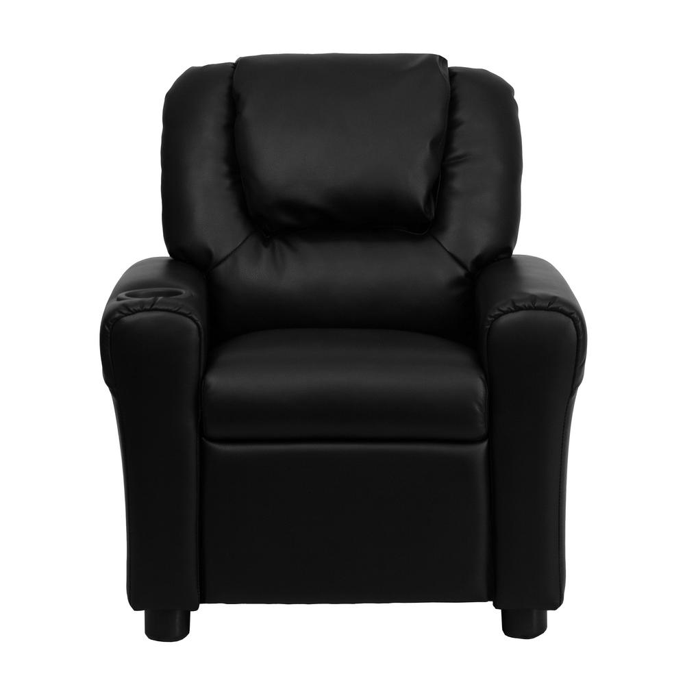 FLASH Contemporary Black Leather Kids Recliner with Cup H...