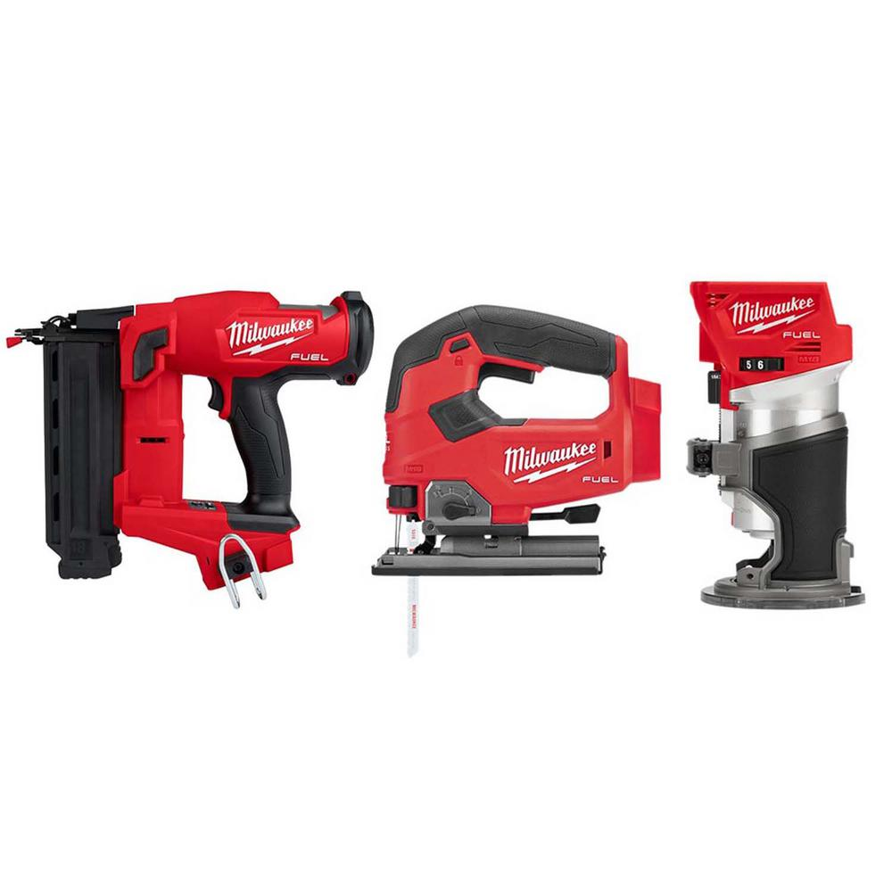 Milwaukee M18 FUEL 18-Volt Lithium-Ion Brushless Gen II 18 Gauge Cordless Brad Nailer/Jig Saw/Router Combo Kit (3-Tool)