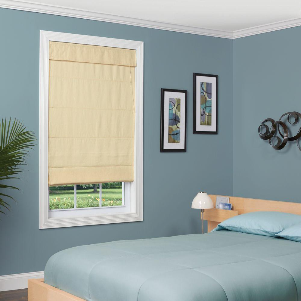 homeBASICS True Linen Linen Fabric Inaccessible Cord Roman Shade - 27 in. W x 64 in. L