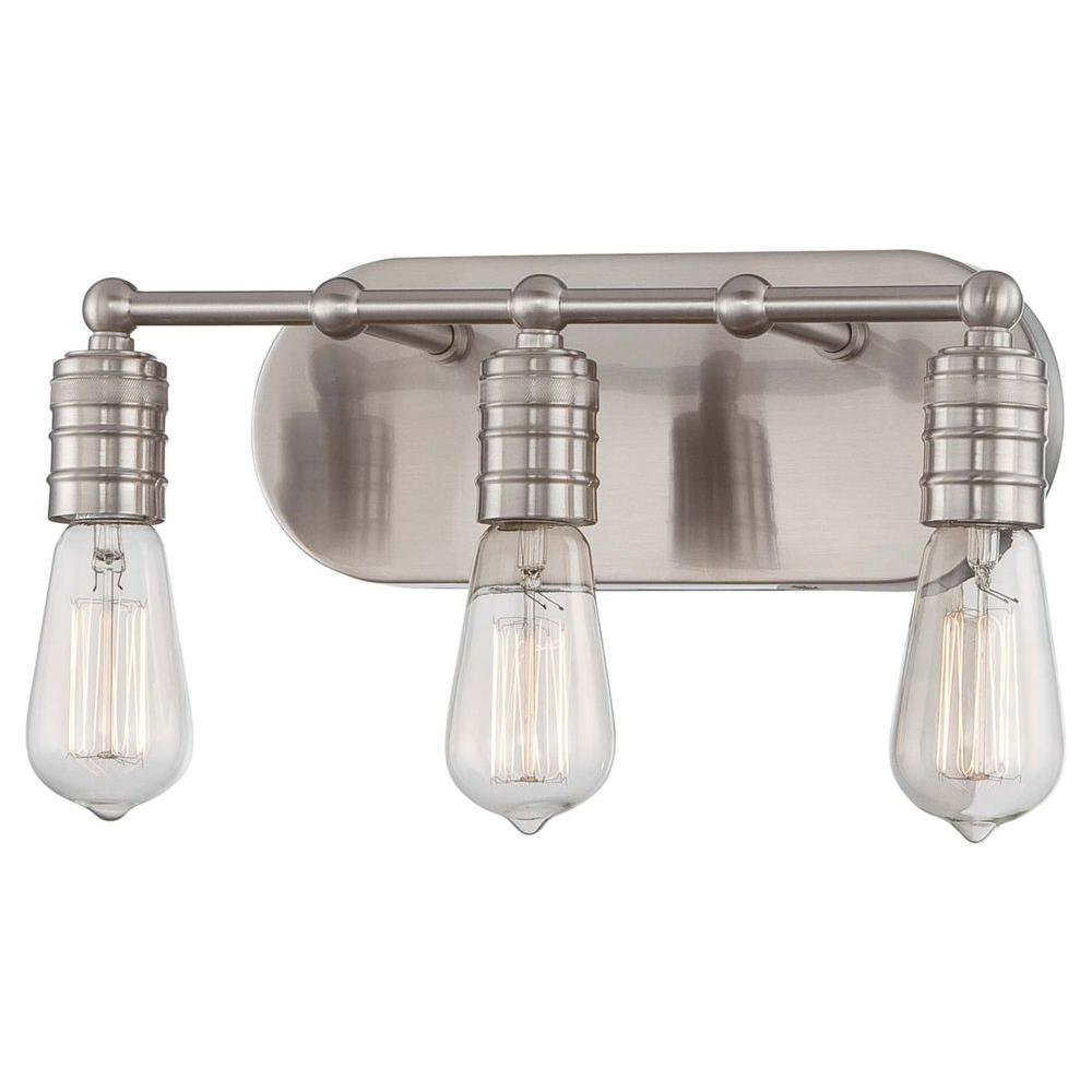Minka Lavery Downtown Edison 3-Light Brushed Nickel Bath Light-5135-84 -  The Home Depot