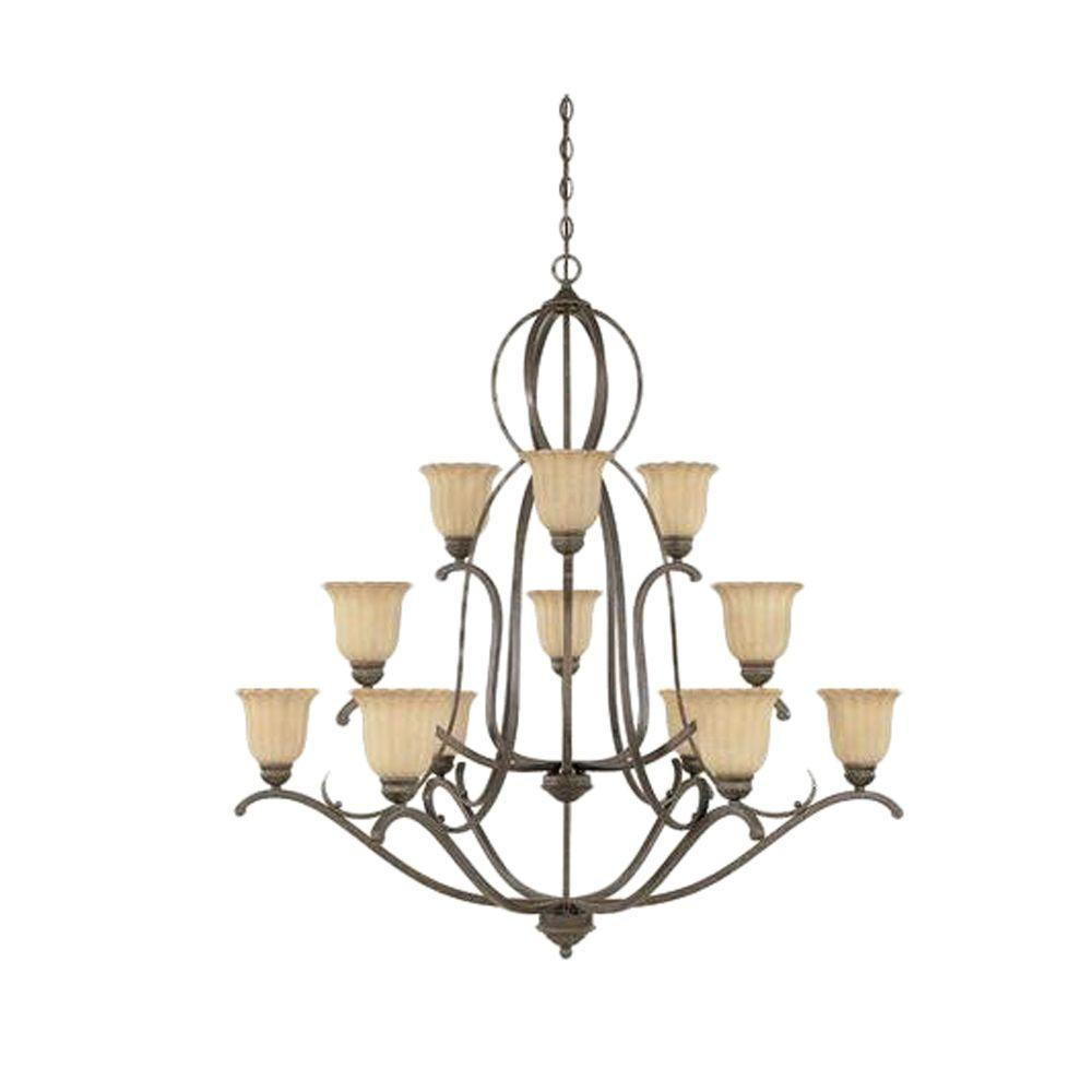 Designers Fountain Ordos 12-Light Forged Sienna Hanging Chandelier