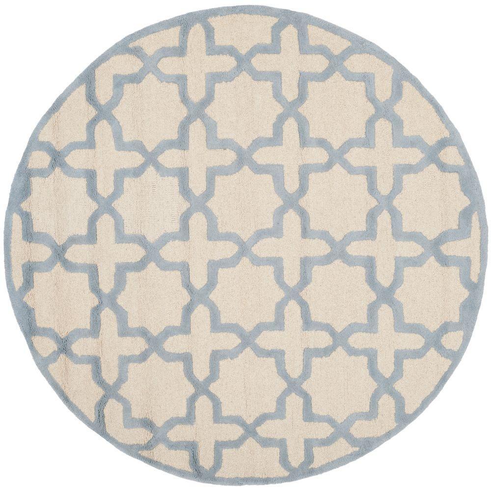 Cambridge Ivory/Light Blue 6 ft. x 6 ft. Round Area Rug