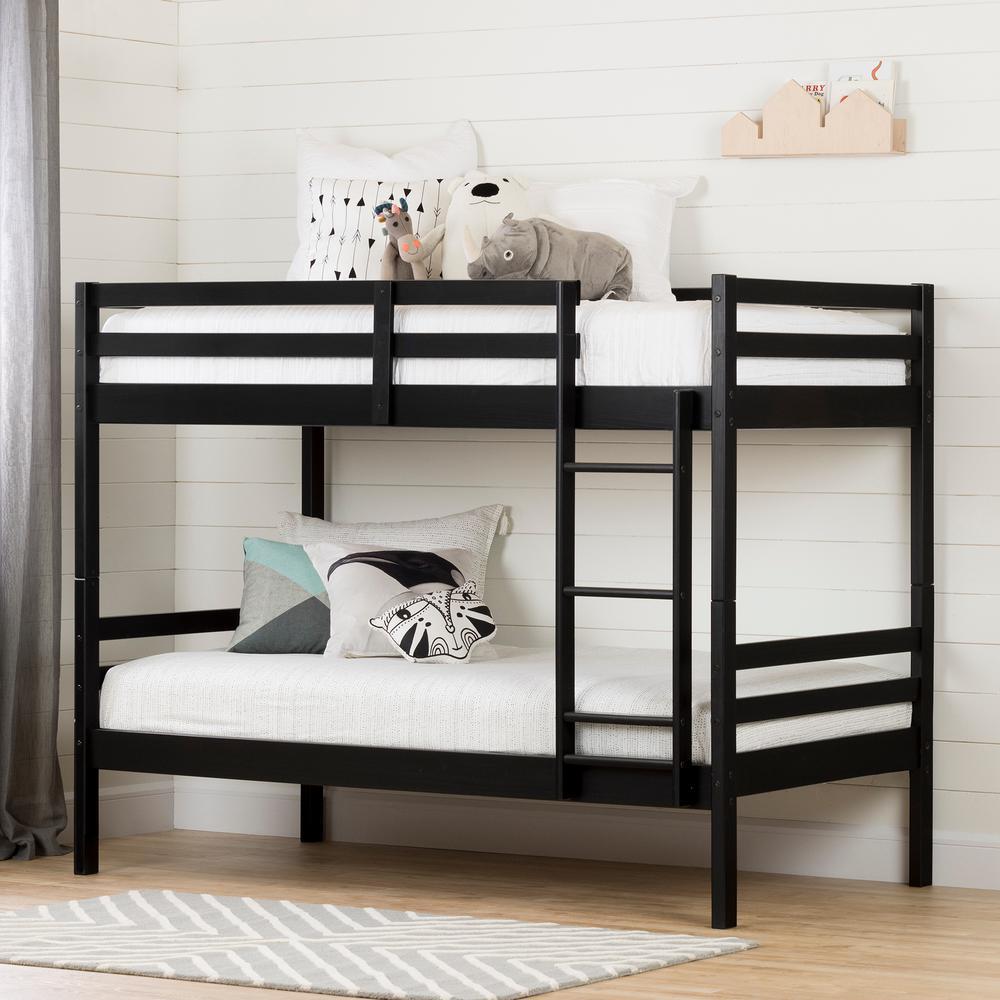 South Shore Fakto Matte Black Twin Bunk Bed 11822 The Home Depot