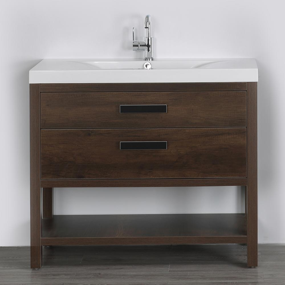 Streamline 39.4 in. W x 32.4 in. H Bath Vanity in Brown with Resin Vanity Top in White with White Basin