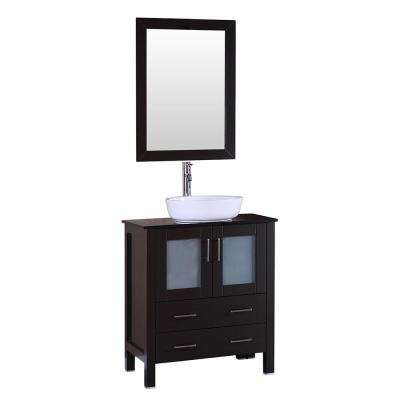 30 in. W Single Bath Vanity with Tempered Glass Vanity Top in Black with White Basin and Mirror