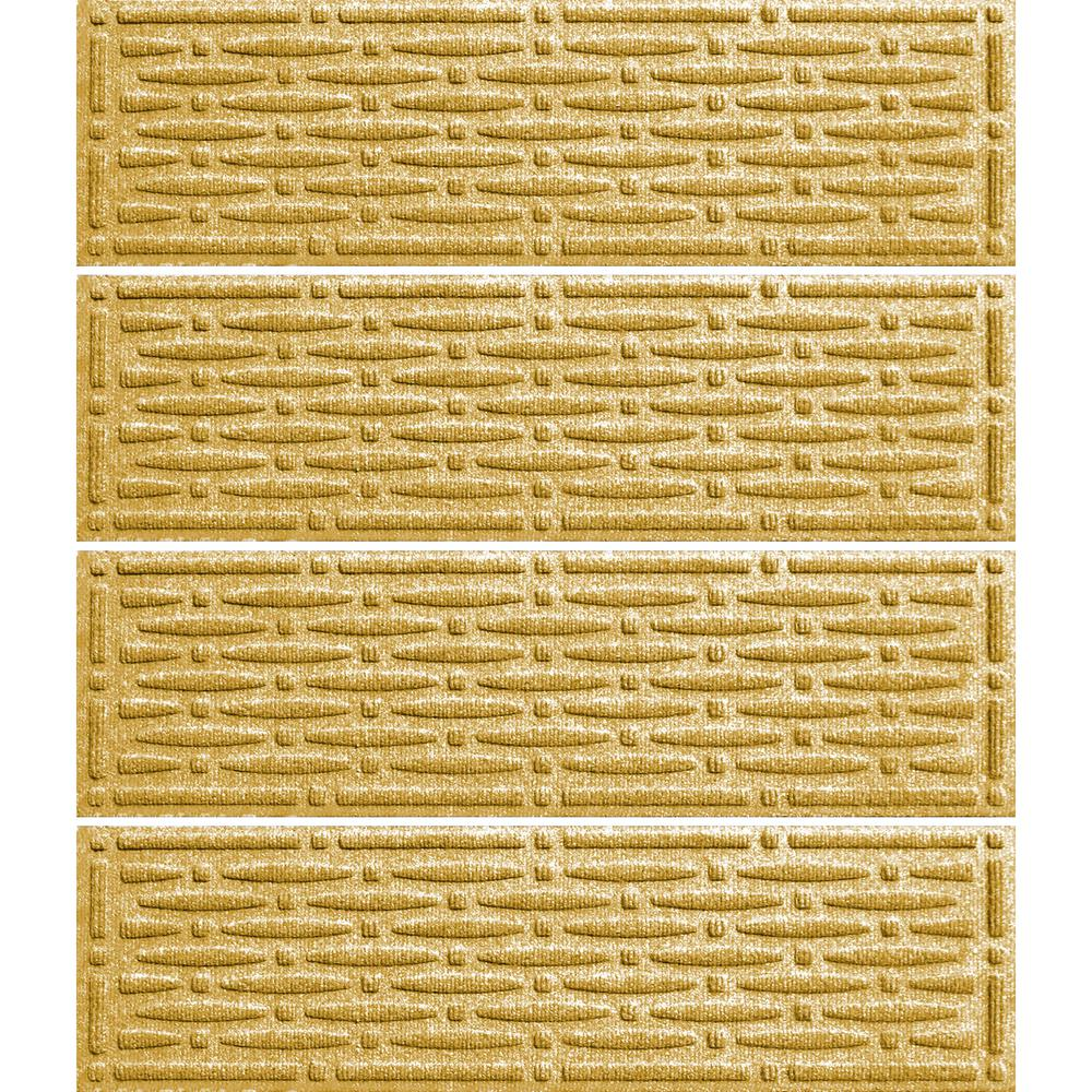 Yellow 8.5 in. x 30 in. Mesh Stair Tread (Set of 4), Yellows/Golds