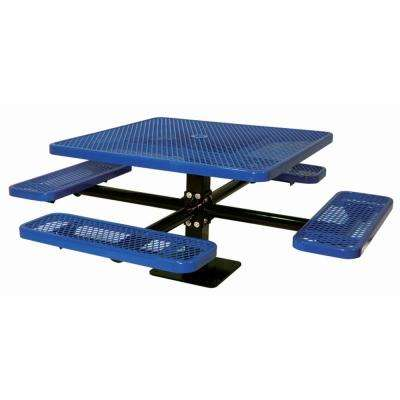 46 in. Diamond Blue Commercial Park Surface Mount Square Table
