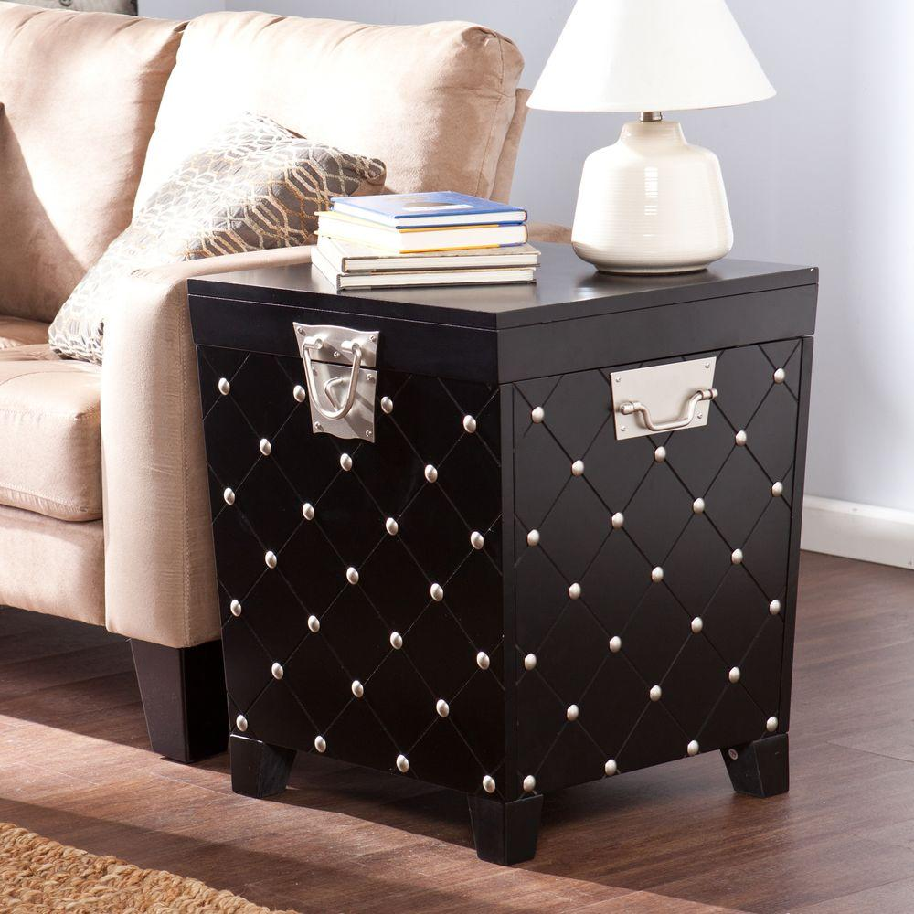 Southern Enterprises Black Trunk End Table HD The Home Depot