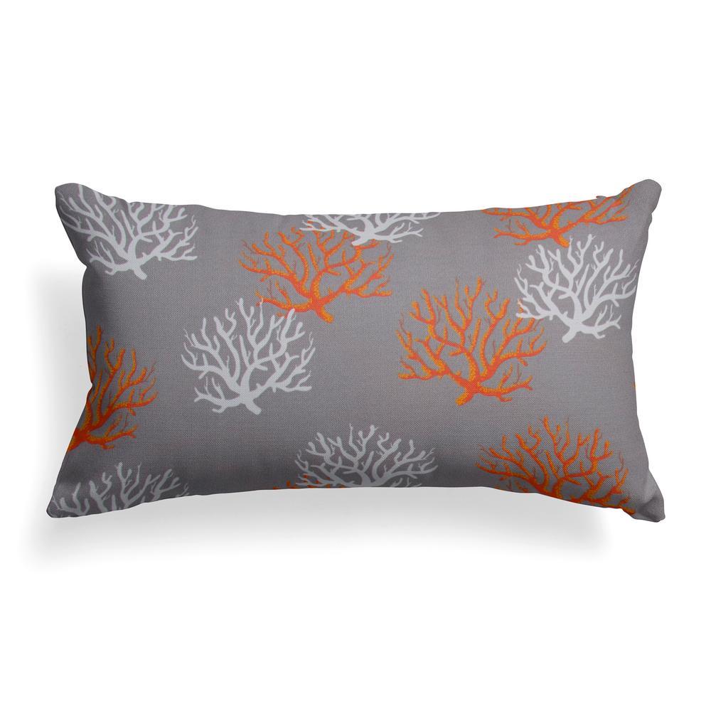 Grouchy Goose Reef Grey Lumbar Outdoor Throw Pillow
