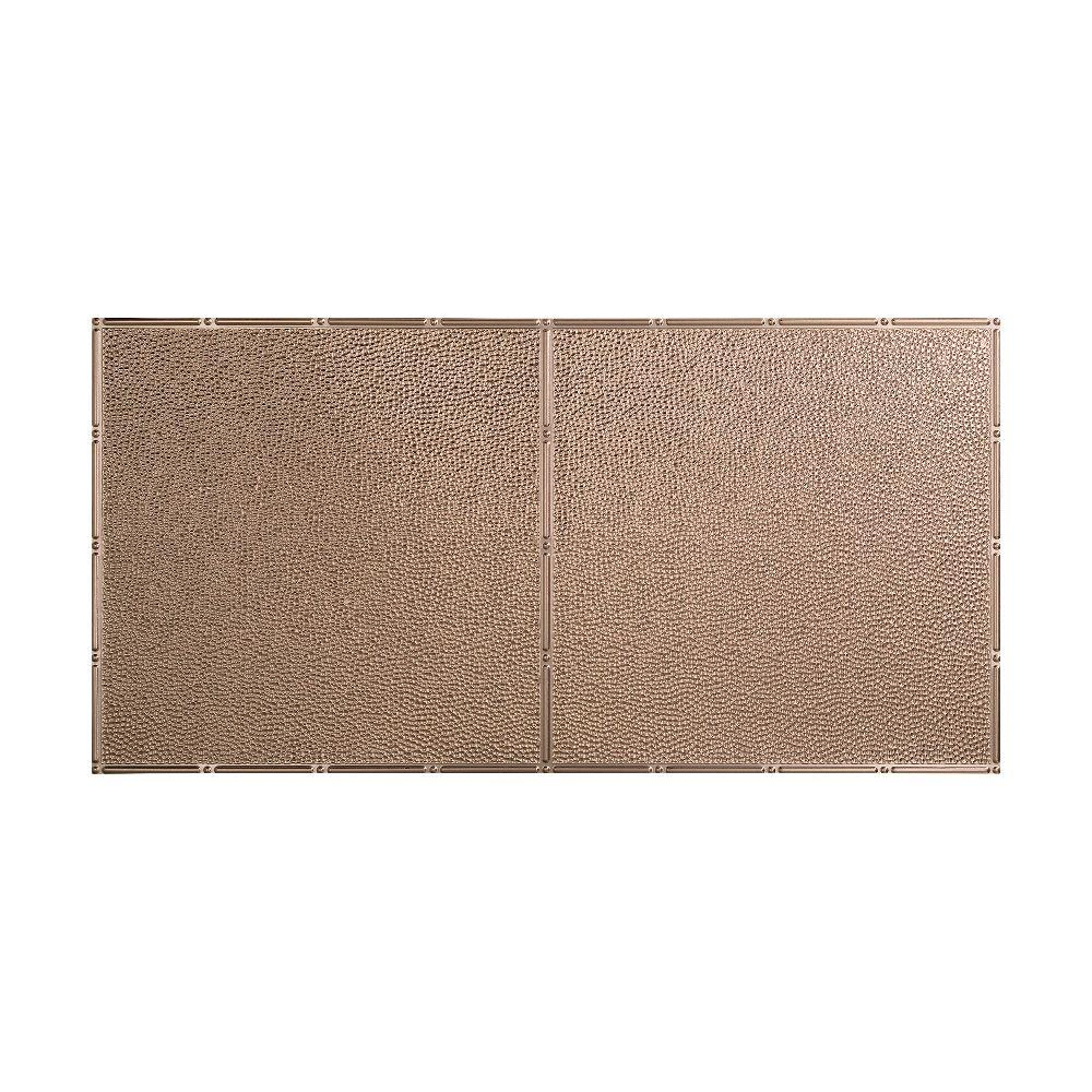 null Hammered - 2 ft. x 4 ft. Glue-up Ceiling Tile in Brushed Nickel
