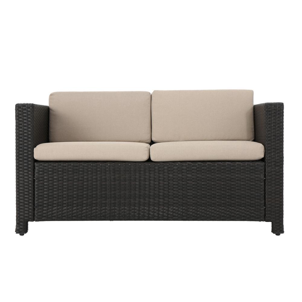Puerta Dark Brown Wicker Outdoor Loveseat with Beige Cushions
