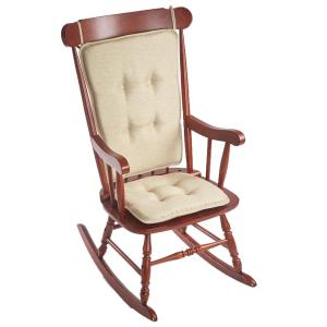 Klear Vu Embrace Natural Tufted Rocking Chair Cushion Set with Gripper Back and Ties by