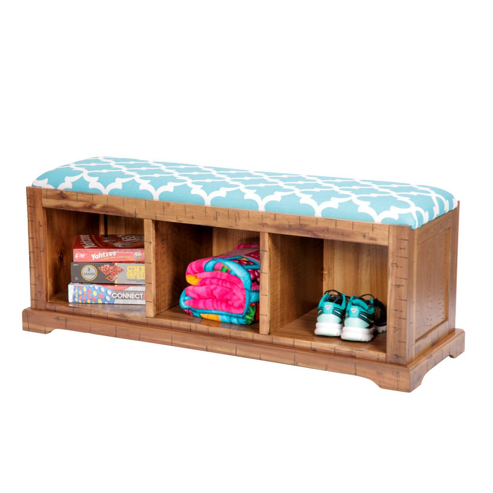 Distressed Toffee Solid Wood Hall Bench with Flynn Teal Fabric Covered