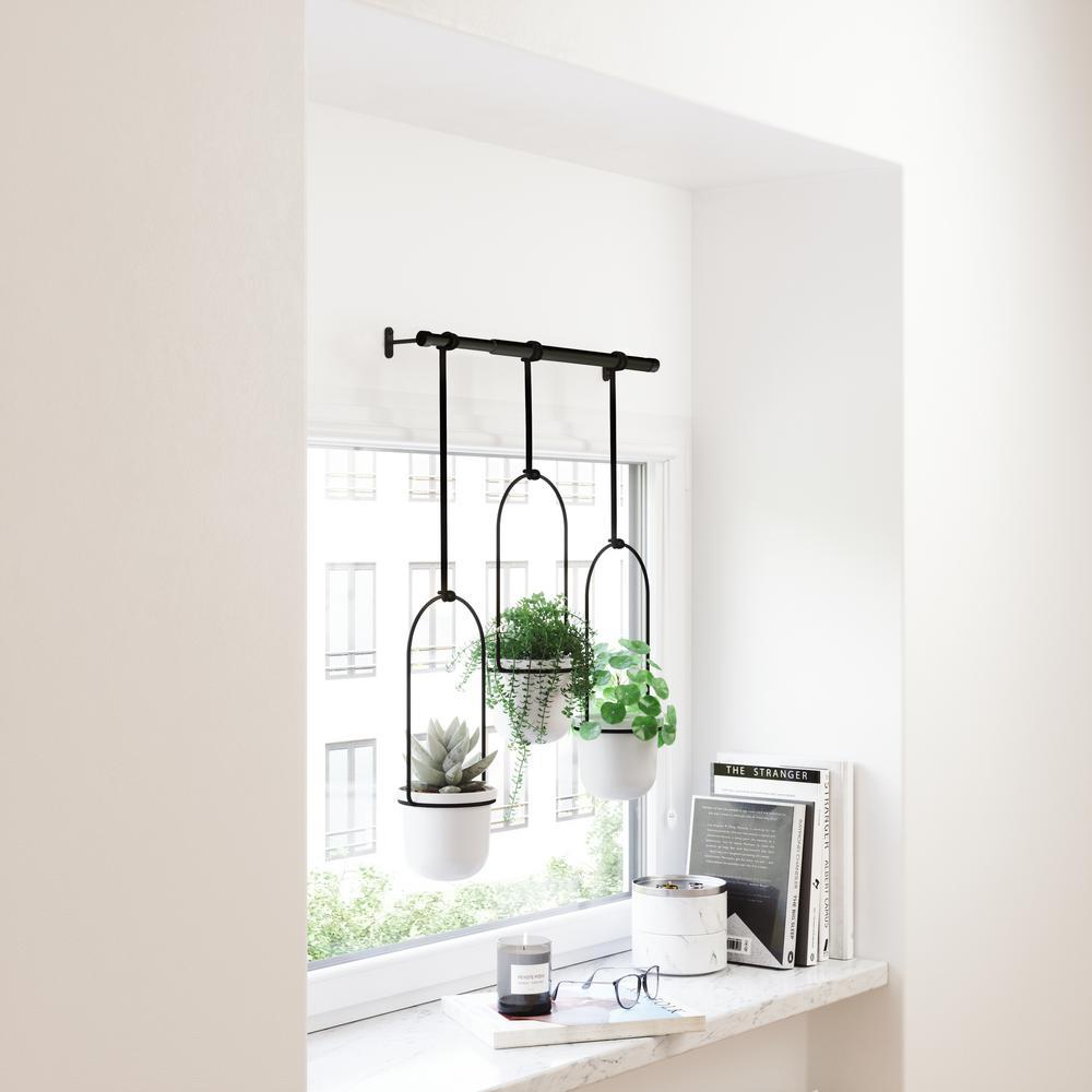 Umbra Triflora White Hanging Plastic Planter 1011748 660 The Home Depot
