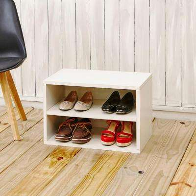 Blox System Eco zBoard Tool Free Assembly Divider Rectangle Shelf Stackable Modular Bookcase Storage Shelf in White