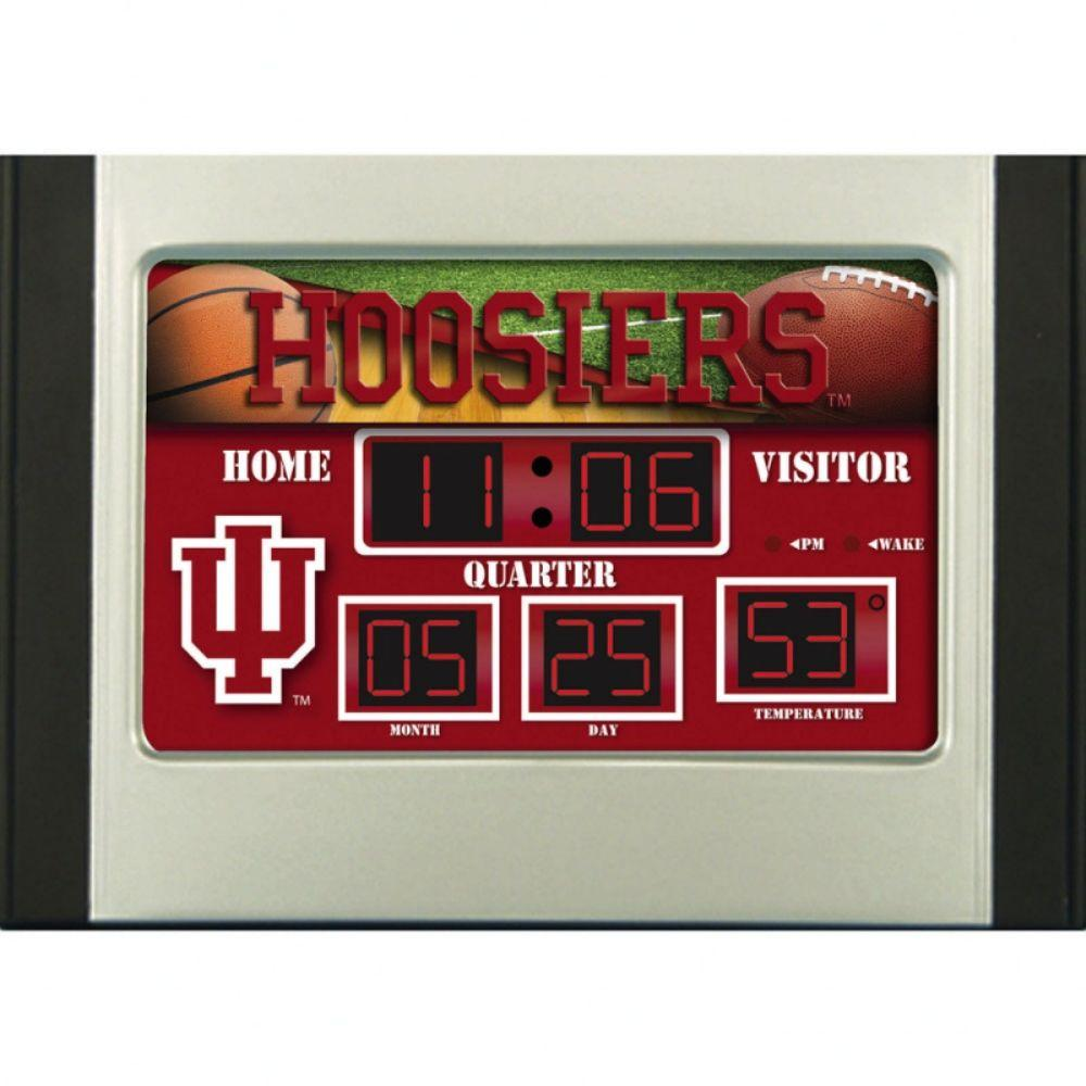 null Unversity of Indiana 6.5 in. x 9 in. Scoreboard Alarm Clock with Temperature