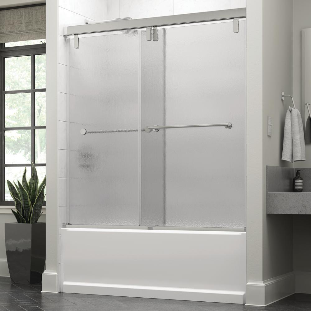 Crestfield 60 in. x 59-1/4 in. Semi-Frameless Mod Sliding Bathtub Door