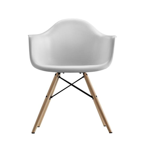 Dhp Harper White Mid Century Modern Molded Arm Chair With Wood Leg