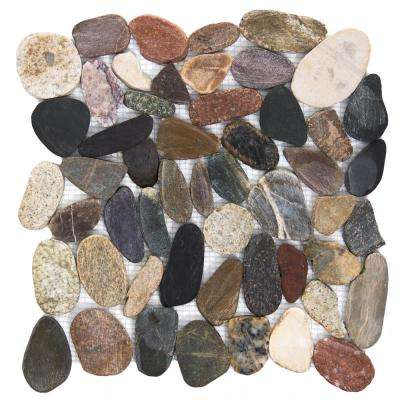 Rivera Pebbles Natural Honed 12.01 in. x 12.01 in. x 11 mm Pebbles Mesh-Mounted Mosaic Tile