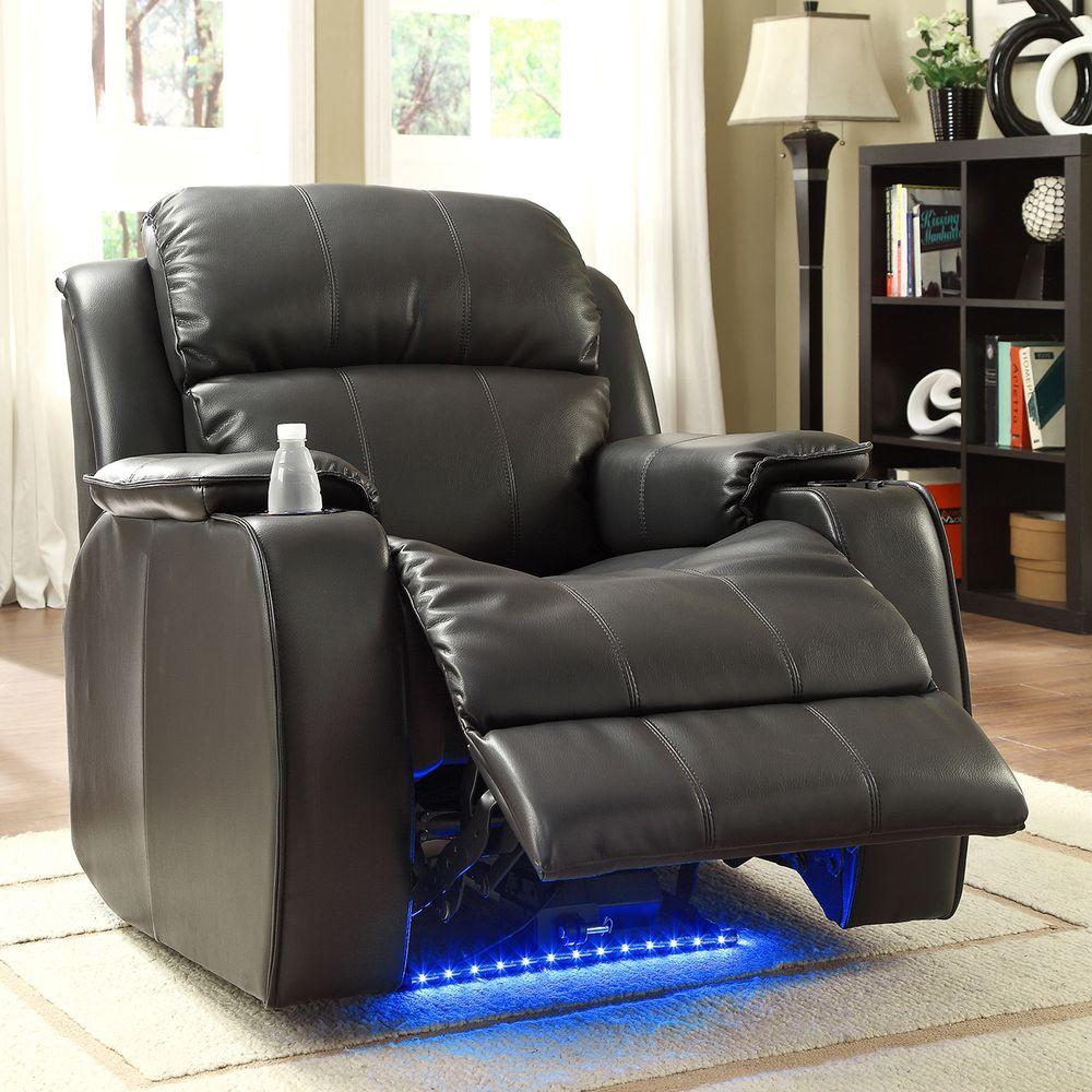 HomeSullivan Carlyle LED Bonded Leather Power Recliner in Black with Cupholders